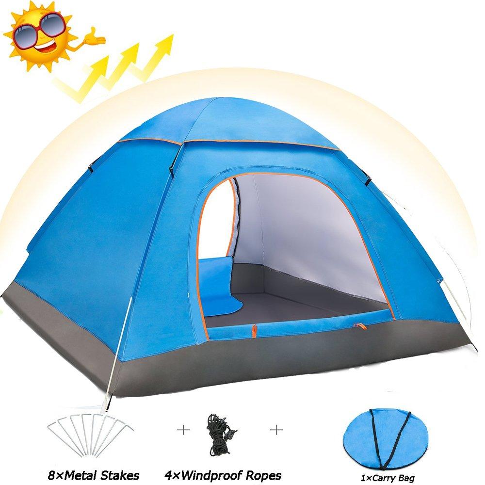Eyeco Tienda de Campaña, Tienda de Campaña Doble Capa para 3-4 Personas,Camping Pop-Up Instantánea y Portátil Tent,Ventanas Mosquitera Protección Solar UV