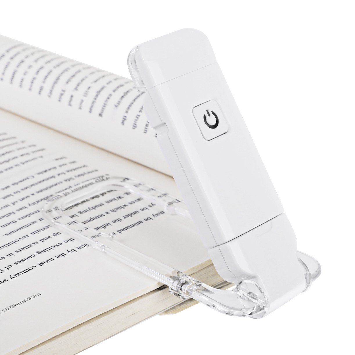 DEWENWILS USB Rechargeable Book Reading Light, LED Clip on Book Lights, Brightness Adjustable for Eye-Protection, Portable, Warm White, Bookmark for Reading in Bed LED Book Light