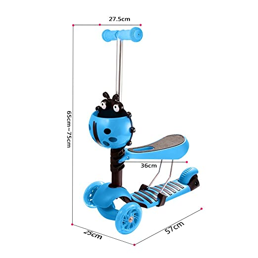 Amazon.com: Yuebo Kids 3 Wheel Scooter--Mini Kick Scooter with Seat, 5-in-1  Baby Walker Stroller with LED Light up Wheels, Gift Toys for Beginner Boys  Girls ...