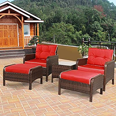 "Tangkula Wicker Furniture Set 5 Pieces PE Wicker Rattan Outdoor All Weather Cushioned Sofas and Ottoman Set Lawn Pool Balcony Conversation Set Chat Set - 【Luxurious Style & Upgrade Comfort】 The conversation set includes 2 single sofas, 2 ottomans and 1 coffee table. The set provides relaxation for 2-4 people. 4"" thickness cushions will offer comfortable experience. 【Sturdy Material & Attractive Appearance 】The set is made of high quality PE wicker and sturdy steel frame. The set is perfect for outdoor usage, and the weight capacity is up to 250 lbs. It will meet daily use. 【Easy to Clean & Variety Formation】All cushions come with zippered covers which are removable and washable by washing machine. With wet cloth you can wipe dust or blot on the glass table top in seconds. And you can put the pieces in variety formation as you like. - patio-furniture, patio, conversation-sets - 61RSFEPMY5L. SS400  -"