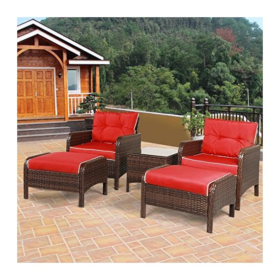 "Tangkula Wicker Furniture Set 5 Pieces PE Wicker Rattan Outdoor All Weather Cushioned Sofas and Ottoman Set Lawn Pool Balcony Conversation Set Chat Set - 【Luxurious Style & Upgrade Comfort】 The conversation set includes 2 single sofas, 2 ottomans and 1 coffee table. The set provides relaxation for 2-4 people. 4"" thickness cushions will offer comfortable experience. 【Sturdy Material & Attractive Appearance 】The set is made of high quality PE wicker and sturdy steel frame. The set is perfect for outdoor usage, and the weight capacity is up to 250 lbs. It will meet daily use. 【Easy to Clean & Variety Formation】All cushions come with zippered covers which are removable and washable by washing machine. With wet cloth you can wipe dust or blot on the glass table top in seconds. And you can put the pieces in variety formation as you like. - patio-furniture, patio, conversation-sets - 61RSFEPMY5L. SS570  -"