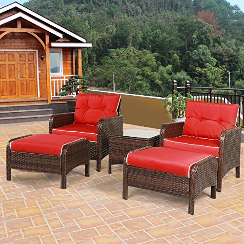 61RSFEPMY5L - Tangkula 5 PCS All-Weather Wicker Furniture Set Sofas with Ottoman Outdoor Furniture