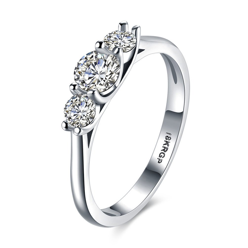 HMILYDYK Womens Platinum-Plated Sterling Silver 3 Stone CZ Round-Cut Swarovski Crystal Eternity Promise Ring Engagement Wedding Bands