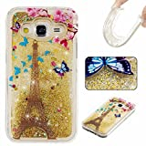 KSHOP Samsung Galaxy G530 Case,Generation Case Liquid Glitter Case Bling Floting Quicksand Full of Lover Stars Soft TPU Silicone Ultra Thin Lightweight Rubber SmartPhone Protective Back Cover -Golden
