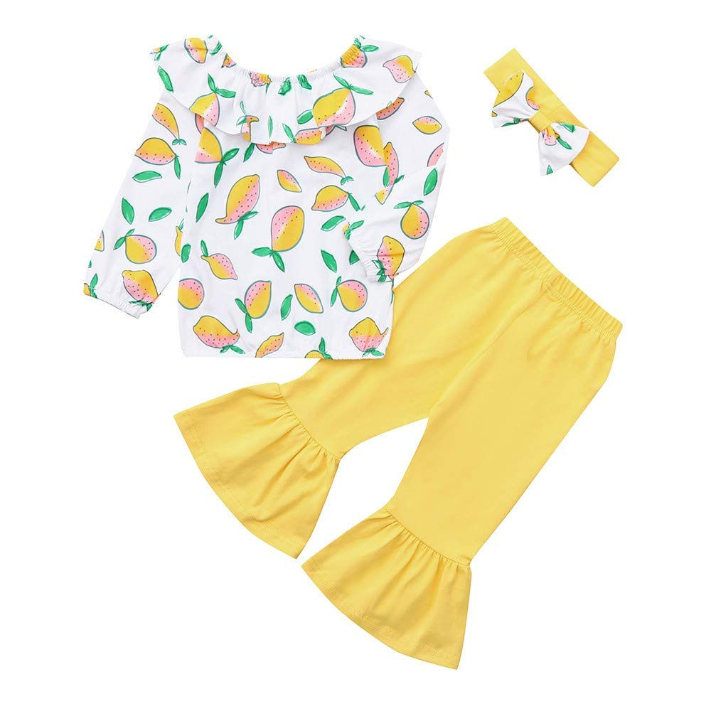 NUWFOR Toddler Kids Baby Girl Lemon Print Ruffles T-Shirt+Solid Pants Outfits Clothes(Yellow,2-3 Years