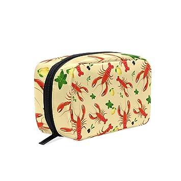 b41d70162a70 Amazon.com : MAPOLO Lobster Lemon Handy Cosmetic Pouch Clutch Makeup ...