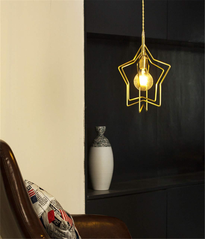 Eisenkunst Pentagrammform Leuchter E27 Farbe modern nordisch Restaurant Kinderzimmer Nachttischlampe Gold 31,5  31,5 cm(Kronleuchter,Lüster)
