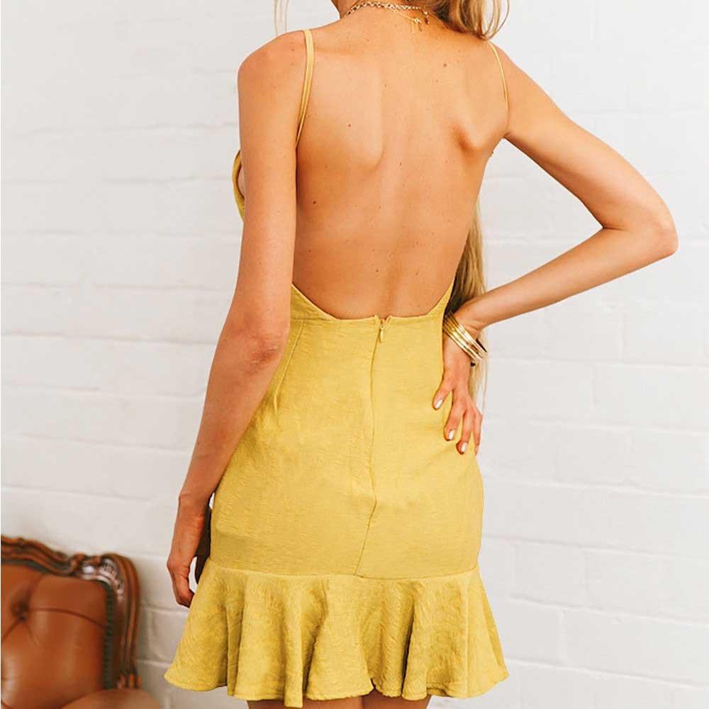 ESAILQ Frauen Sommer R/üschen Sleeveless Bodycon Slim Fit Abend Party Mini Dress