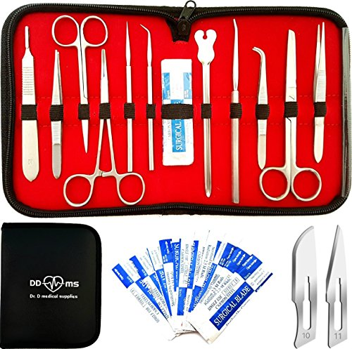 22 Pcs Advanced Dissection Kit For Anatomy & Biology Medical Students With Scalpel Knife Handle - 11 Blades - Case - Lab Veterinary Botany Stainless Steel Dissecting Tool Set For Frogs Animals etc