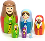 Nesting Nativity Scene - 6 Stackable Wooden Christmas Holiday Dolls -