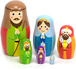 Nesting Nativity Scene - 6 Stackable Wooden Christmas Holiday Dolls - Small, Cute Indoor Manager Scene for Home Display, Tables, Mantle, Party Decor, & Decorations