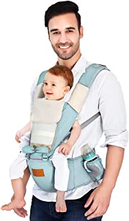 Baby Carrier, Breathable Ergonomic Hip Seat 130cm Maximum Adjustable Waistband with Removal Hoodie and Bibs