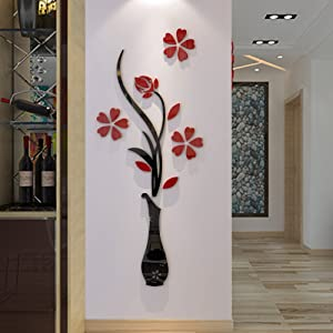 3d Vase Wall Murals for Living Room Bedroom Sofa Backdrop Tv Wall Background, Originality Stickers Gift, DIY Wall Decal Wall Decor Wall Decorations (Red, 47 X 18 inches)