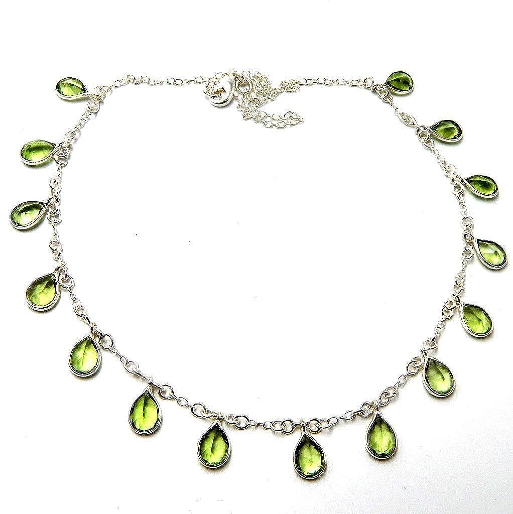 Pratik-Jewel Green Amethyst Quartz 925 Sterling Silver Plated Handmade Jewelry Chain Necklaces 8 Gm AC1
