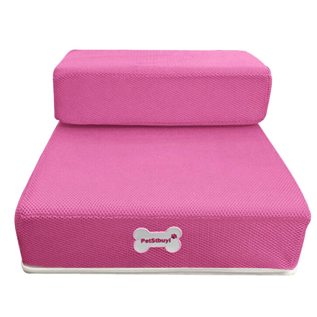 ❤️MChoice❤️Breathable Mesh Foldable Pet Stairs Detachable Pet Bed Stairs Dog Ramp 2 Steps Ladder (Pink)