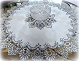 Galleria di Giovanni 34 Inch Doily Silver Gray Lace Antique White Ivory Round