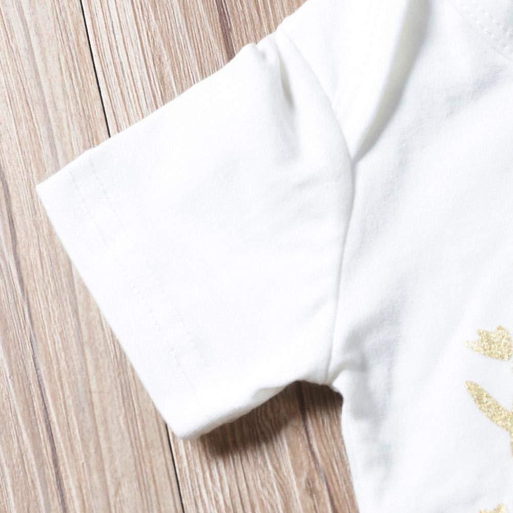 3pcs Baby Girls Mangas Cortas Romper Floral Pants Diadema Set Cute Outfits Akaddy Conjunto de Ropa de Invierno para beb/és