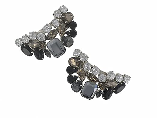 Shoe Clips MULTI COLOURED BLACK STONES Ladies Pair