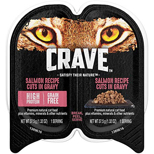 Crave Grain Free Adult Wet Cat Food Salmon Recipe Cuts In Gravy, (24) 2.6 Oz. Twin-Pack Trays