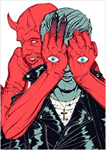 DNJKSA Queens of The Stone Age Poster   2017 Villains Movie Pintura al óleo HD Art Poster Print Canvas Art Wall Picture para la Sala de Estar Decoración del hogar Regalo único-50x75cm Sin Marco