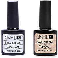 Gillberry Gel Nail Polish Base Coat and No Wipe Top Coat Kit Soak Off Manicure Pedicure Nail Art Tool Set No Wipe 2pcs,Top+Base