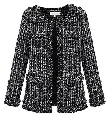 UUYUK Women's Plus Size Round Neck Gorgeous Tweed Jackets Coats Black US XL (Tweed Plus Coat Size)