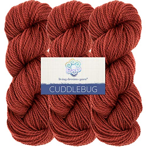 (Living Dreams Yarn CUDDLEBUG DK - Botanically Dyed with Vegan Plant Dyes. Superfine Merino Spun in the Pacific Northwest. Cruelty Free & Responsibly Sourced. Three Pack: Mason)