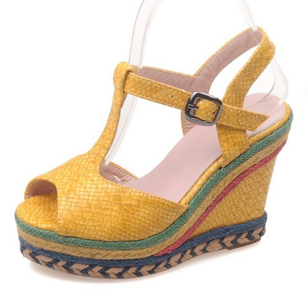 LongFengMa Women Platform High Heel Sandals Peep Toe Flatform Wedges Shoes B01HMTAT98 US3=22cm=EUR34|Yellow