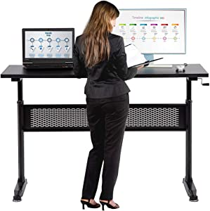 Standing Desk Converter Computer Workstation Height Adjustable Desk Large Desktop Stand Up Desk Ergotron Laptop Sit-Stand Desk Fit Dual Monitor for Home Office Black,48inches
