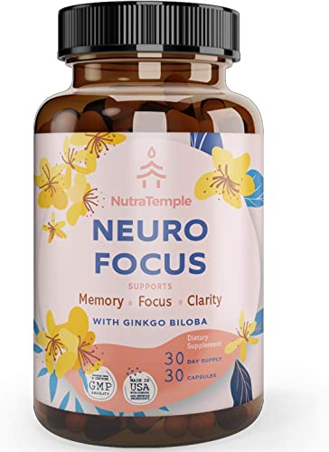 Brain Supplement Nootropics – Neuro Focus for Brain Health, Memory, Clarity, Focus Factor, Stress Relief, Anxiety Relief with Gingko Biloba, Bacopa Monnieri, St. Johns Wort – 30 Brain Food Capsules