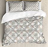 Vintage Hawaii Duvet Cover Set Queen Size by Lunarable, Exotic Hibiscus Plant Abstract Floral Pattern Nature Inspirations, Decorative 3 Piece Bedding Set with 2 Pillow Shams, Beige Grey Cinnamon