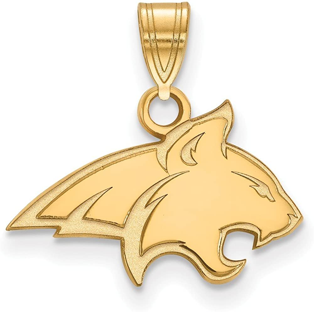 925 Sterling Silver Yellow Gold-Plated Official Montana State University Small Pendant Charm 17mm