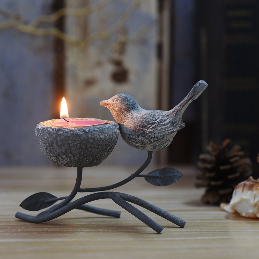 Marbrasse Votive Candle Holders, Vintage Home Decor Centerpiece, Iron Branches, Resin Bird and Nest, Tabletop Decorative TeaLight Candle Stands (Grey Black)