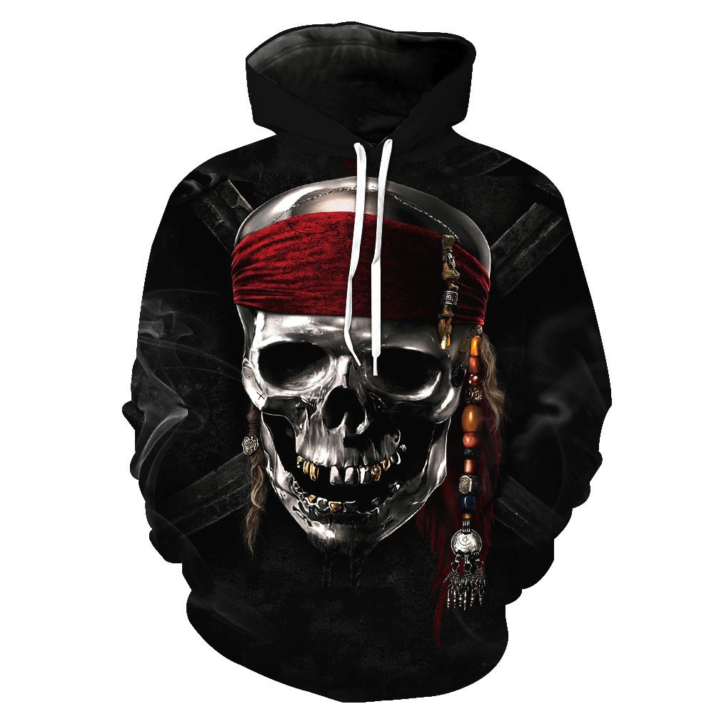 Unisex 3D Printed Hooded Pirate Skull Pattern Mens Baseball Uniform Large Pocket Sports Breathable Sweater Pullover