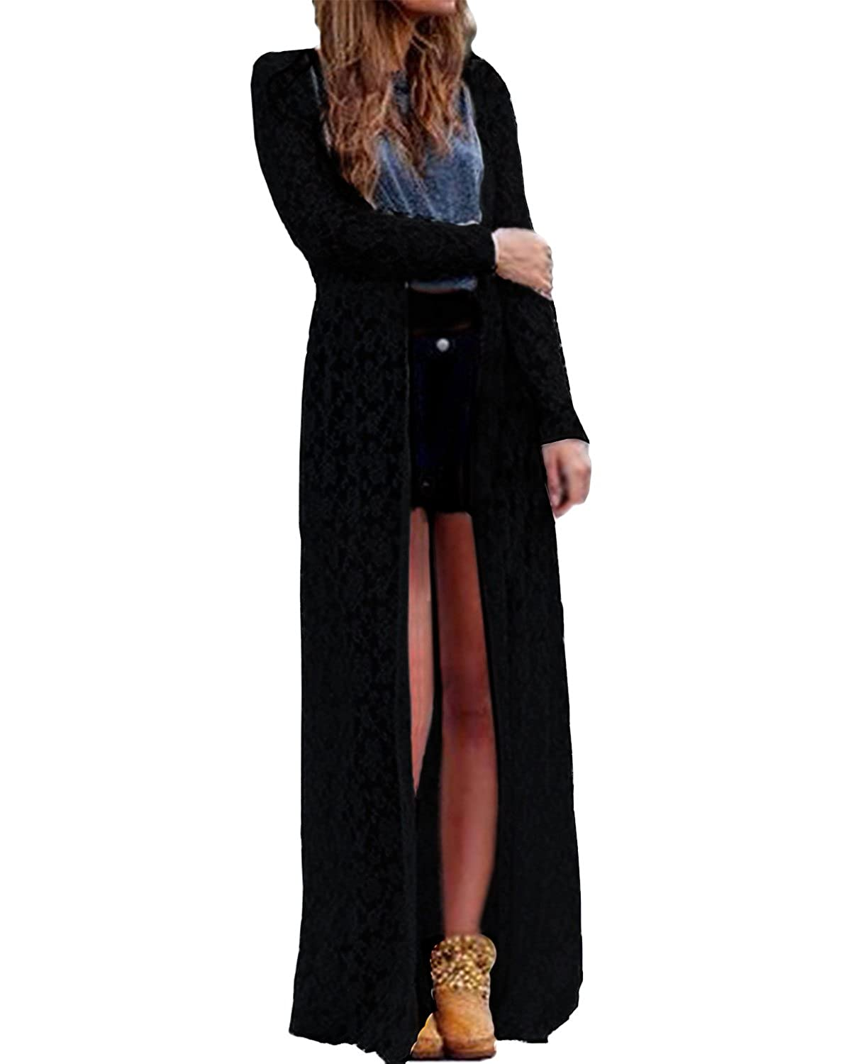 Forever Womens Long Sleeves Lace Back Waterfall Maxi Cardigan at ...