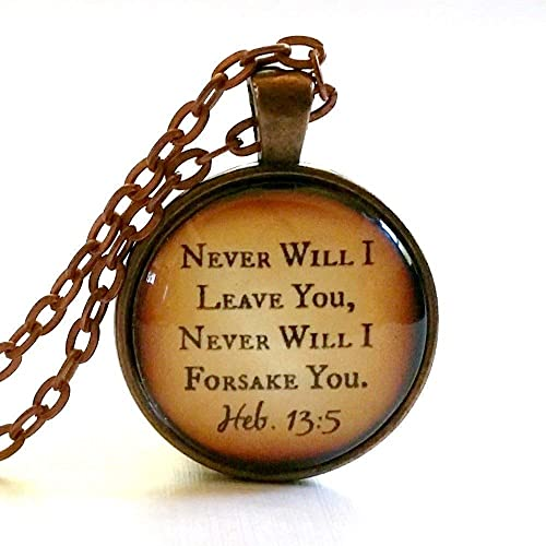 Bible Verse Necklace Glass Pendant Never Will I Leave You Free Gift Box Christian Gift Ideas Best Scripture Jewelry