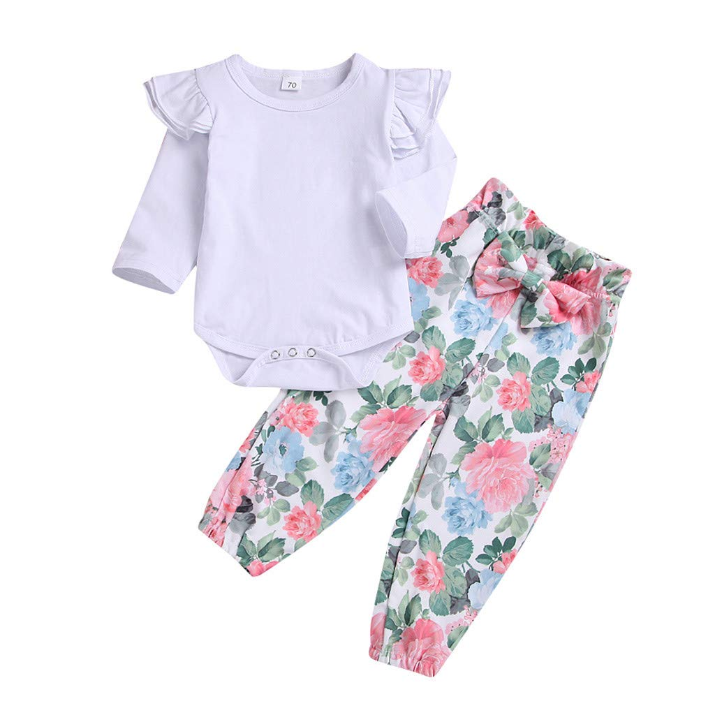 Infant Baby Girls Spring Clothes Outfit 3-24 Months Long Sleeve Solid Romper Tops Floral Print Pants Sets