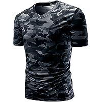 T-Shirt de Sports Homme, Homme Casual Camouflage Fitness Sports Gym Chemise Athlétique Top Manches Courtes, Elastiques Respirant T-Shirt de Running Quick Dry Ba Zha Hei