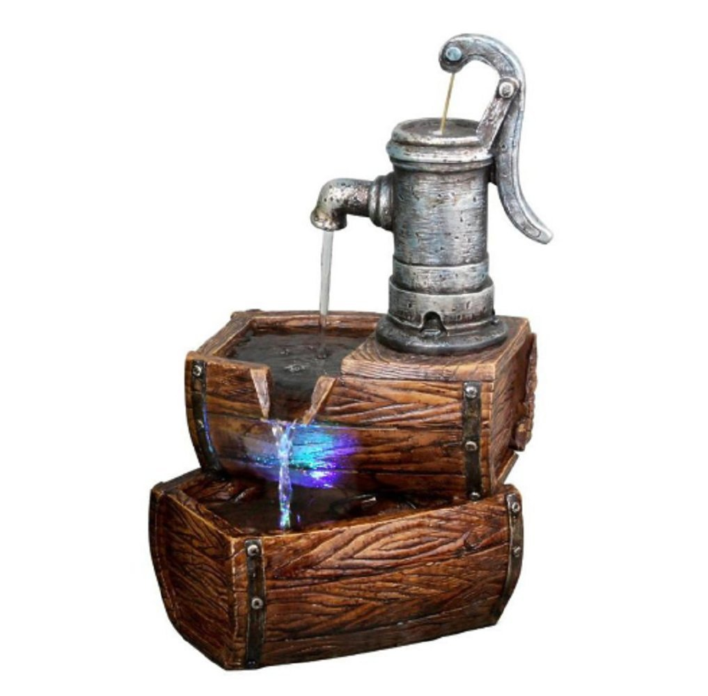MyEasyShopping Two Tier Barrel Fountain with LED Lights per Each, 9'' L x 7'' W x 14'' H