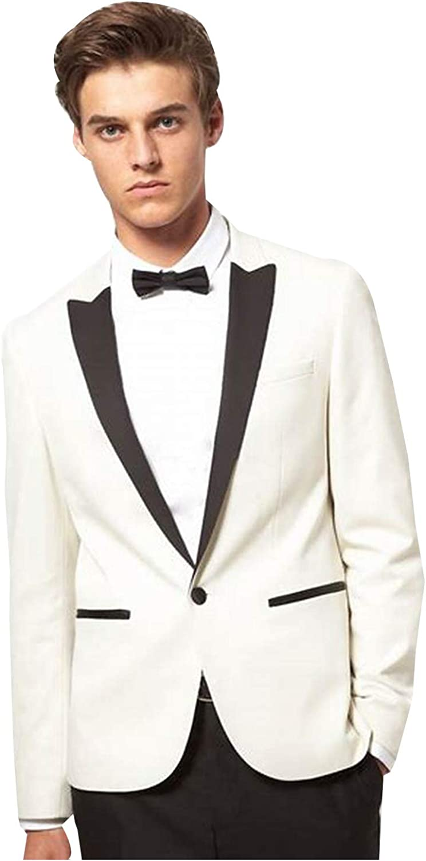 P/&G Mens Slim Fit Beige Two Pieces Wedding Tuxedo Groomsmen Men Jacket Pants
