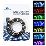 Kingwin RGB LED Strip Lights, LED Light Strip Magnetic w/Adhesive Option for Computer Case, PC, Laptop, and Background Lighting. 5050 SMD Strip Lights, 24 inches [Asus Aura RGB Compatible]