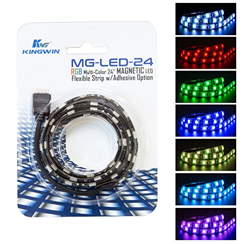 Kingwin RGB LED Strip Lights, LED Light Strip Magnetic w/ Adhesive Option For Computer Case, PC, Laptop, and Background Lighting.  5050 SMD Strip Lights, 24 Inches [Asus Aura RGB Compatible] 5 Led Lights Computer Case
