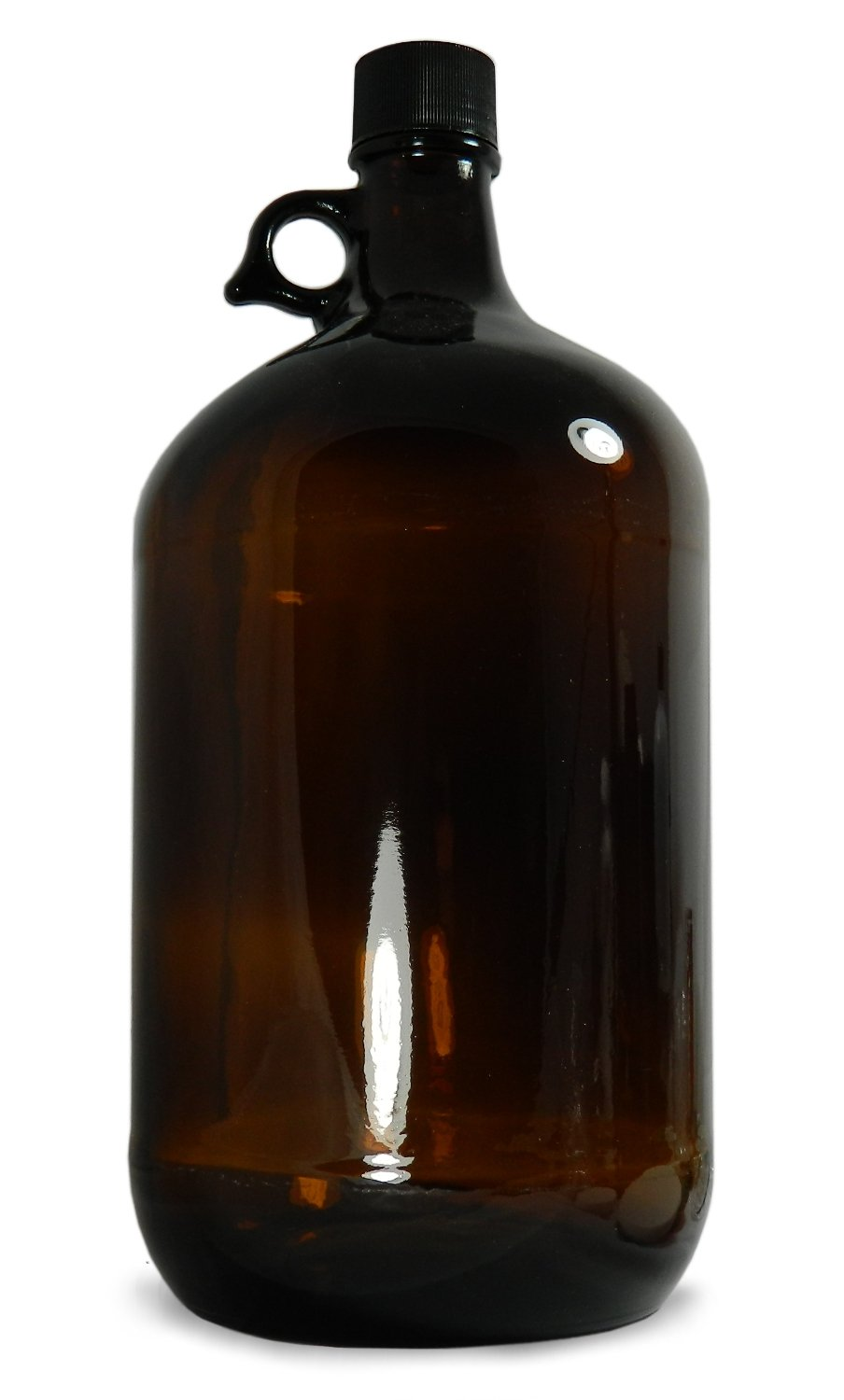 Qorpak GLC-02054 Amber Glass Jug with 38-400 Black Phenolic with Pulp/Vinyl Lined Cap, 128oz Capacity, 165mm OD x 297mm Height (Case of 6)