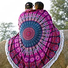 ICC Round Mandala Tassle Fringe Indian Circle of Flowers Tapestry Blue Beach Throw Roundie Yoga Mat Table Cover