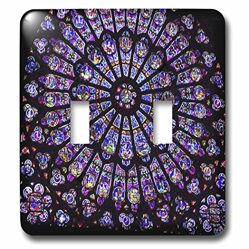 3dRose lsp_50227_2 Notre Dame Cathedral Stained Glass Toggle switch