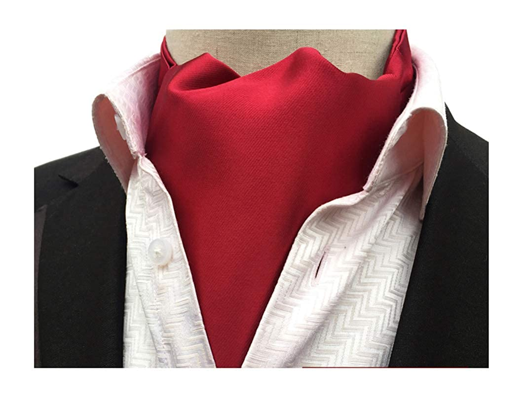 1960s – 70s Mens Shirts- Disco Shirts, Hippie Shirts Secdtie Mens Classic Solid Color Silk Cravat Ties Jacquard Woven Evening Ascot $13.99 AT vintagedancer.com