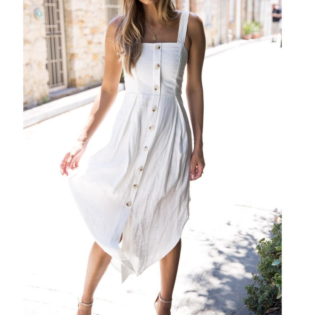 ❤ Vestido de fiesta mujer, Las mujeres de vacaciones vestido irregular Ladies Summer Beach Buttons Vestido de fiesta chaleco de verano vestido ABsolute: ...
