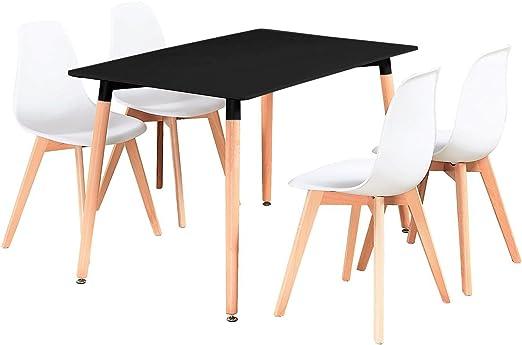P&N Homewares Rico - Juego de Comedor (Mesa Negra, sillas Blancas ...