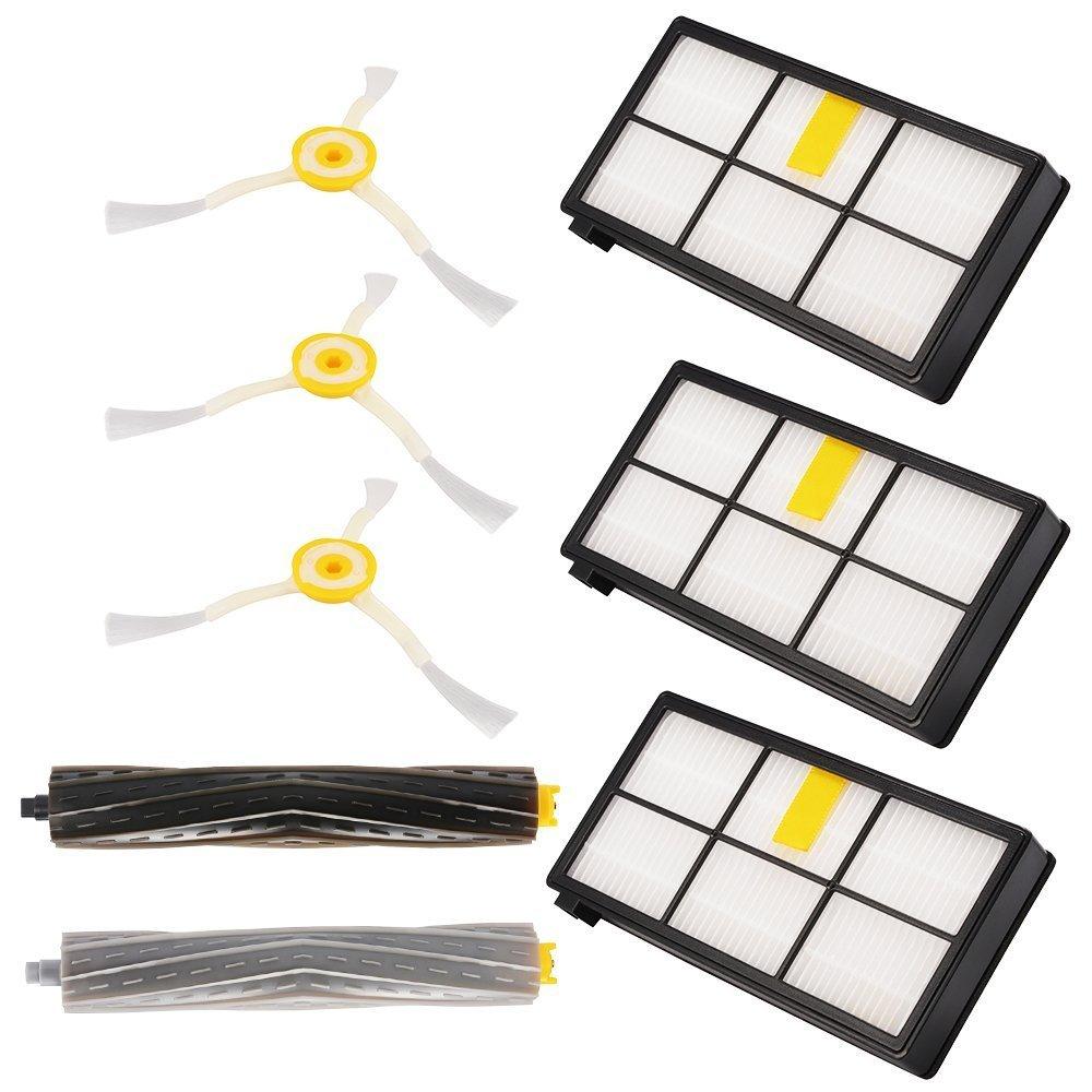 Kit di Ricambi sostituzione per iRobot Roomba 800 900 Serie (880/860/870/871/980/990 etc.) 8 pezzi Accessori compreso Spazzole laterale, Filtri, Spazzola di spugna per Robot Aspirapolvere ZXX