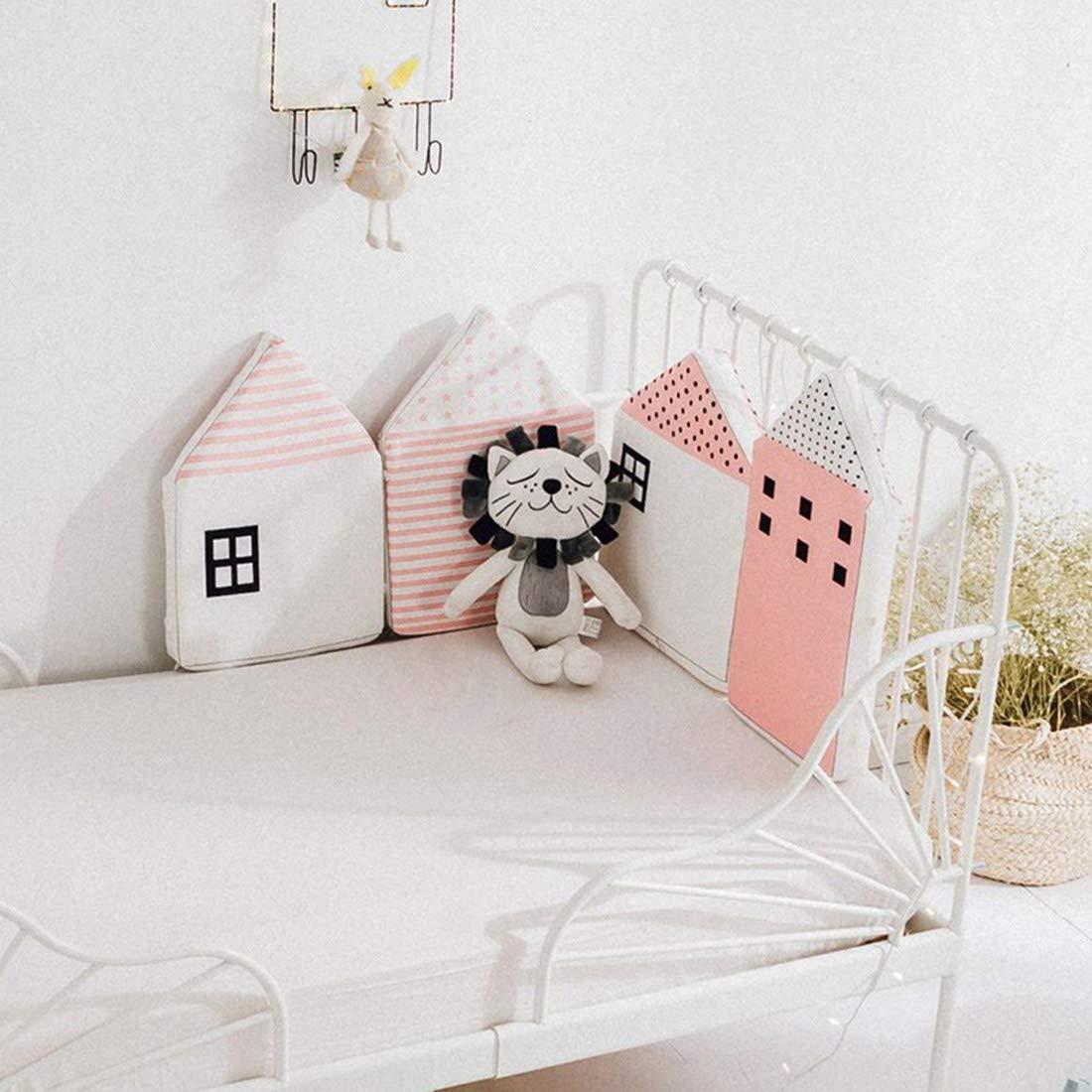 Jiyaru 4 Pieces Baby Crib Bumper Cotton Nursery Cradle Pads House Shape White